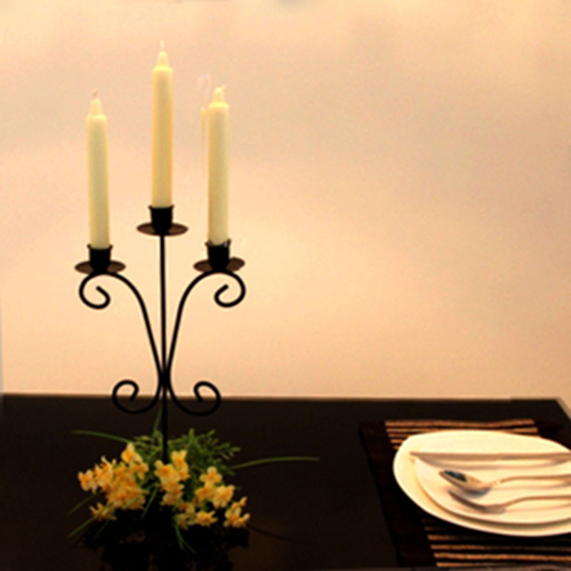 Iron Candle Stand Designs : European style three head metal candle holders wrought