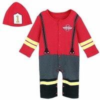 תינוק מצחיק פיירמן תלבושות Cosplay Playsuit סרבל פעוט תינוק סט Romper חג מולד שנה חדשה לוחם אש עם כובע