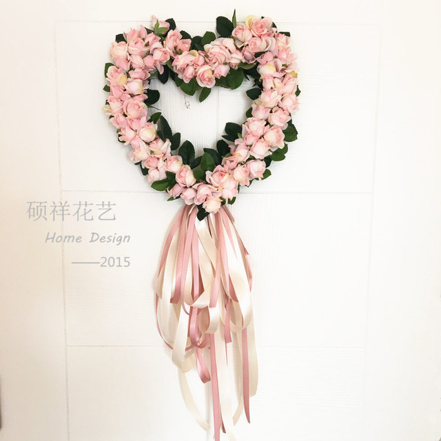 Free Shipping Korean Flower Ring Wreath Simulation Door Trim Hanging Lintel  Flower Rose Wedding Car Home