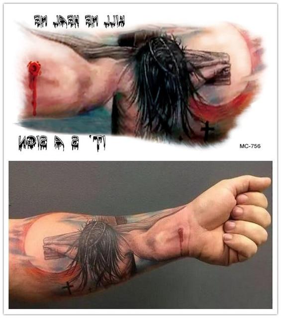Impermeable No Tóxico Jesús Cruz Tatuaje Halloween Gran Brazo Mc 756