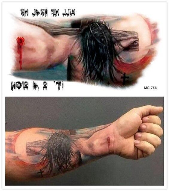 Tatuaje De Cruz De Jesús No Tóxico Impermeable Para Halloween Brazo