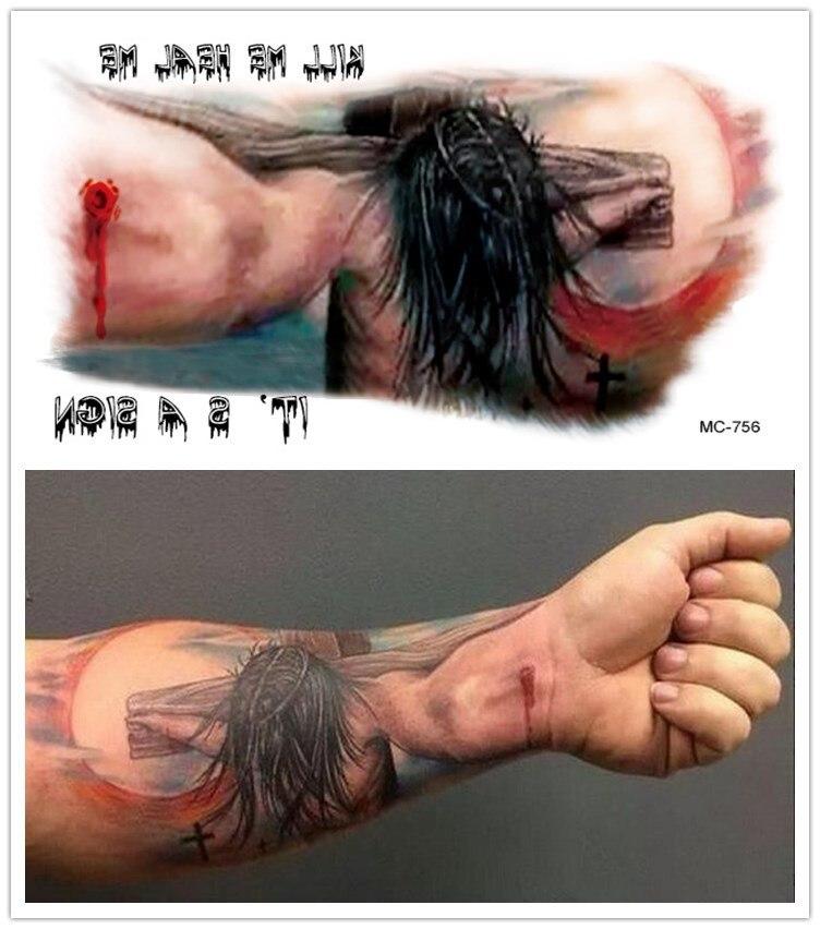 Wodoodporny Nietoksyczny Jezus Krzyż Tatuaż Tatuaż Halloween Duże Ramię Mc 756
