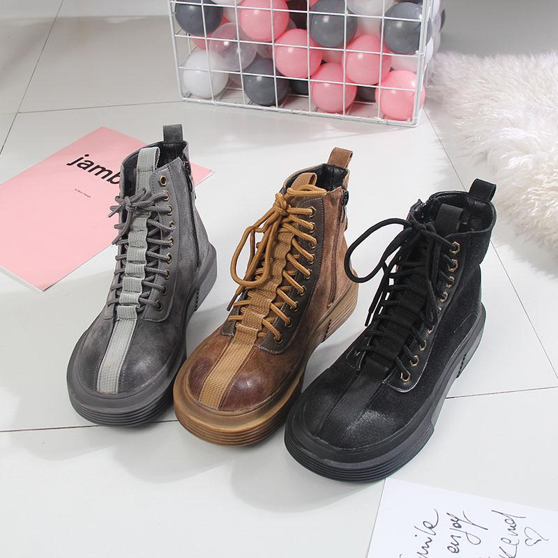 34771cde623cf Mate primavera cerdo de gamuza de las mujeres botas Martin botas zapatos de  mujer zapatos de tacones gruesos botas de estilo Preppy tacones planos de  encaje ...