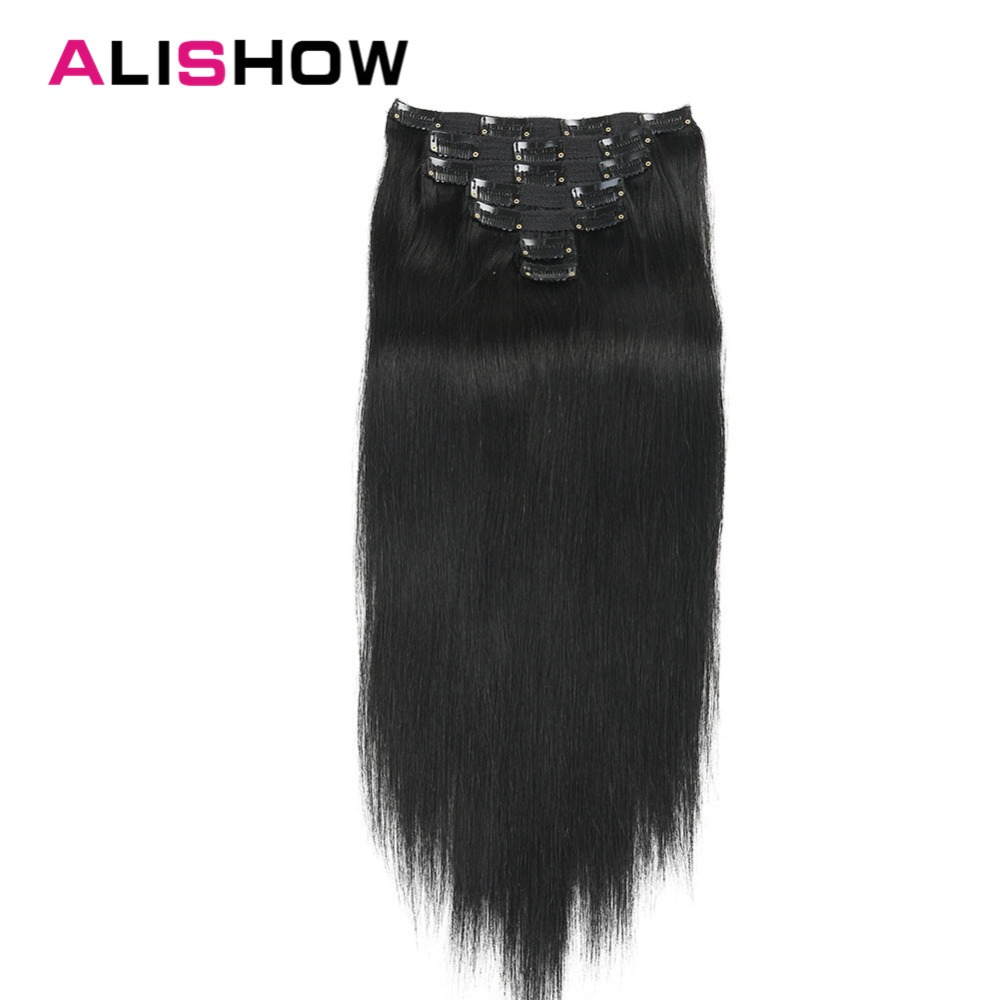 Alishow Clip In Hair Extensions Human Hair Silky Straight Remy Hair Double Drawn 7pcs Human Hair Clip In Extensions 120g