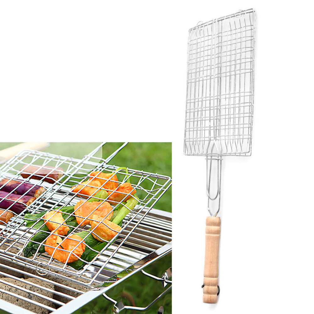 Great Cheap BBQ Barbecue Fish Grilling Basket Roast Meat Fish Vegetable BBQ Tool with Wooden Handle