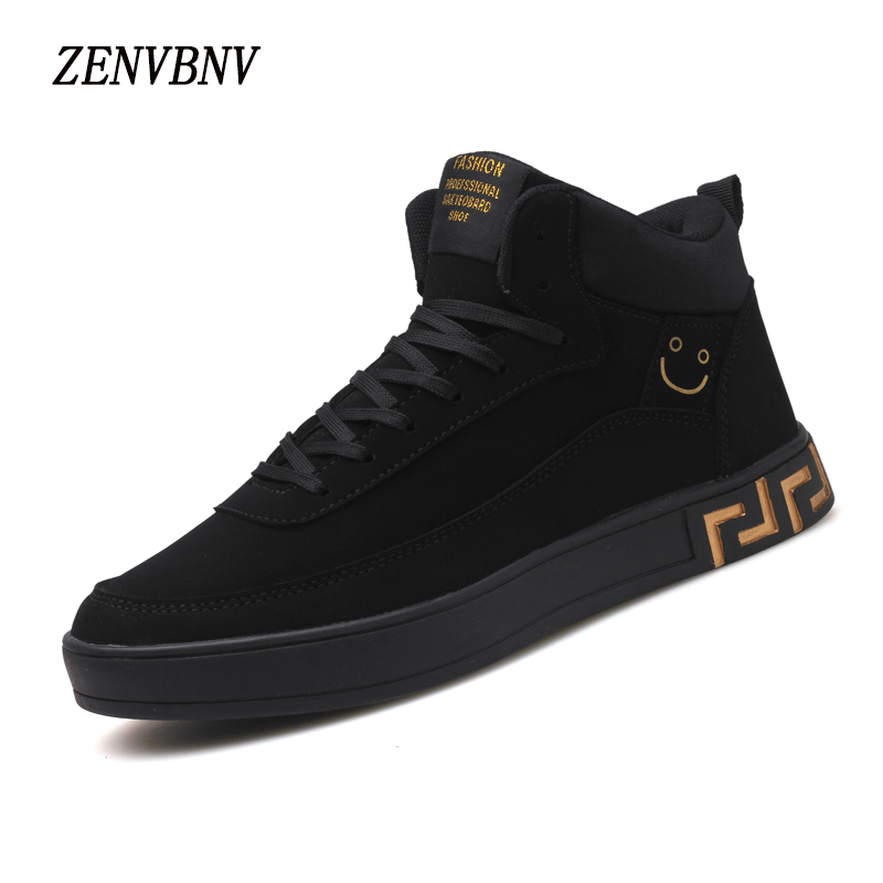 ZENVBNV New 2018 High Quality Men Casual Shoes Fashion High top Men's Leather Shoes Breathable Man Lace up Brand Shoes Golden 2016 new trend luxury brand high top man shoes flat fashion mixed color lace up spring autumn leather man casual shoes patchwork page 3