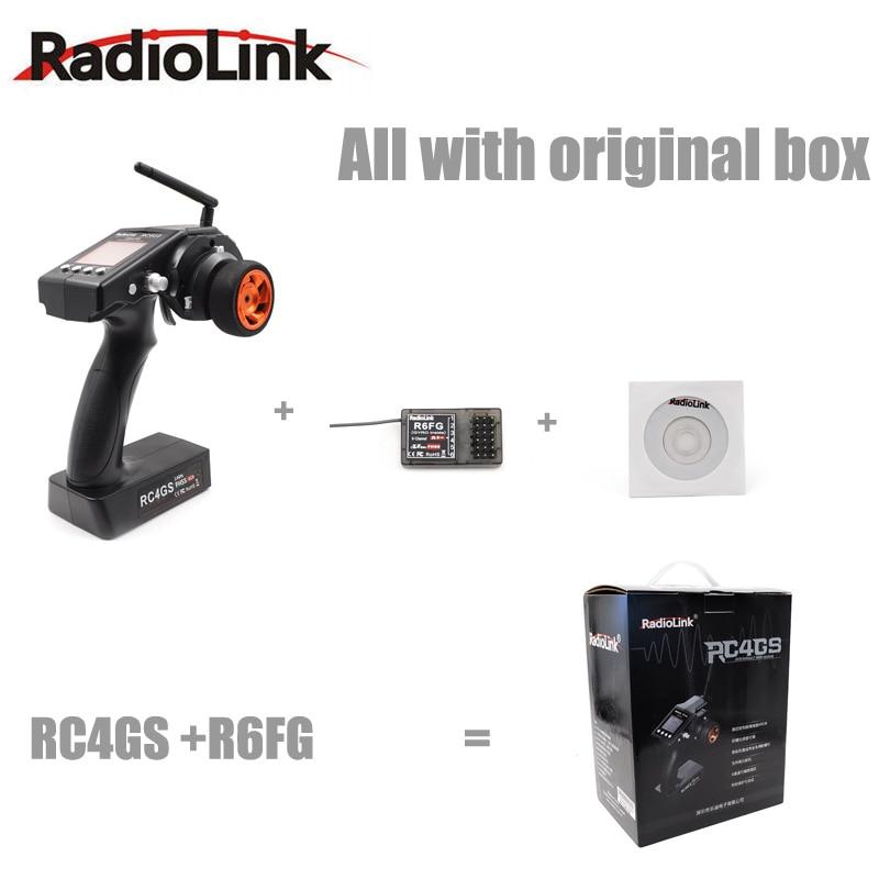 Transmisor de controlador de coche Original RadioLink RC4GS 2,4G 4CH + R6Fg Gyro receptor interior para barco de coche RC (400 m de distancia)-in Partes y accesorios from Juguetes y pasatiempos    1