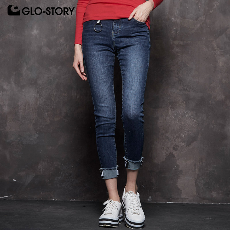 Women's Clothing Glo-story 2018 New Fashion Women Mid-waist Tape Cuffs Stretchy Medium Wash Jeans Streetwear Denim Pencil Pants Wnk-7733 Nourishing The Kidneys Relieving Rheumatism Jeans