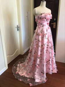 Image 3 - Walk Beside You Pink Flowers Prom Dresses 2020 Long Strapless Sweetheart vestido de formatura longo Evening Gown Party Halloween