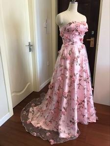 Image 3 - Walk bside You vestidos de graduación con flores, color rosa, Largo sin tirantes, encantador, vestido de formatura largo, vestido de noche para fiesta de Halloween, 2020