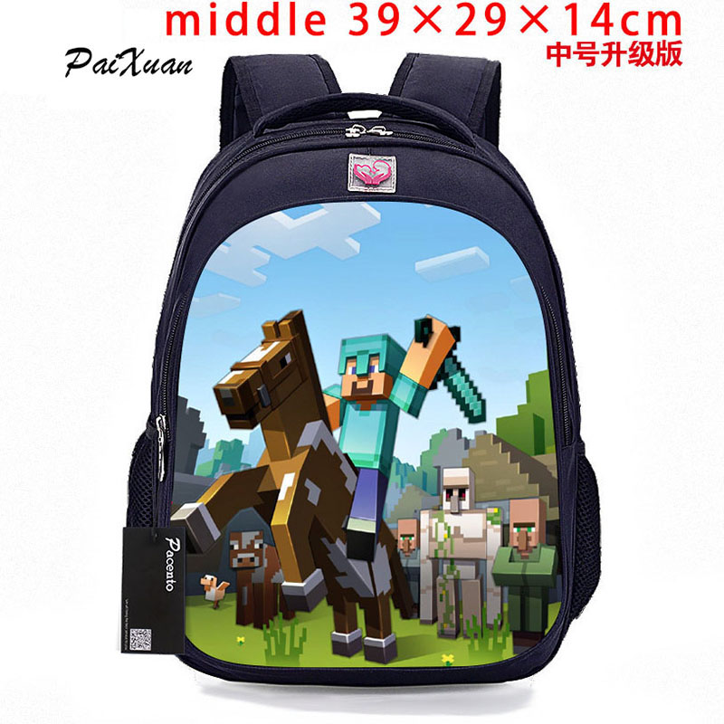 Student MineCraft Cartoon Backpack Boy Cartoon School Bags Hot Primary Backpack School Bags for Boys and Girl Mochila Sac A Dos