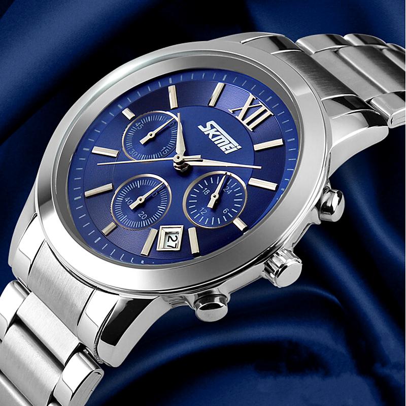 Prix pour Mode hommes montres D'affaires complet montre en acier marque de luxe skmei sport étanche chronomètre Élégant Casual horloge relojes hombre