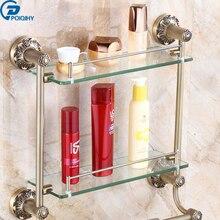 multilayer wall mounted antique brass glass bathroom rack towel washing shower bar shelf bathroom accessories shampoo holder