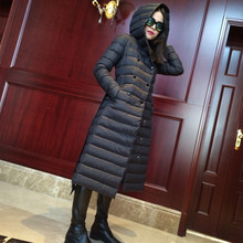 High-end European and American big names long paragraph Slim Down female and lightweight hooded coat