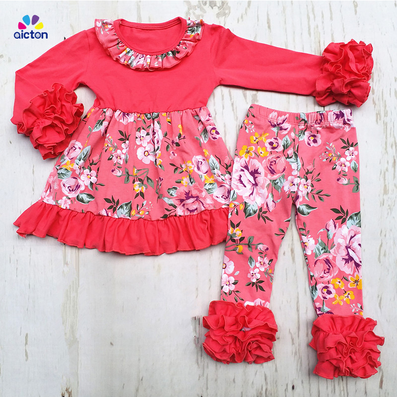 New Fall/winter girls outfits kids pink floral pant sets ruffle outfits floral girls cotton children clothing long pants outfits free ship fall winter long sleeve children clothing sets infant girls ruffle outfits knitted cotton newborn baby clothes f110