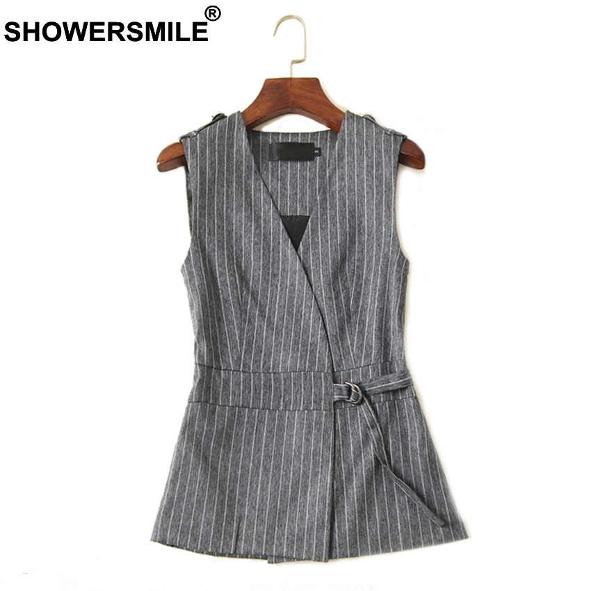 SHOWERSMILE Navy Vest Female Short Linen Striped Women Waistcoat Sleeveless Blazer Vest For Women Spring Elegant Ladies Gilet in Vests amp Waistcoats from Women 39 s Clothing
