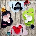2016 hot sale Ins Bebê tigela pratos, Mickey Minnie forma Da Cabeça Lindo prato de frutas para As Crianças do bebê talheres