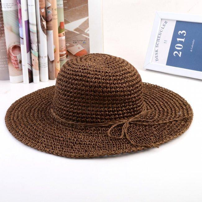Women Summer Crochet Bowknot Large Sun Hat Beach Foladable Straw