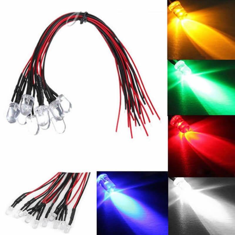 10Pcs DC 12V 18cm 3mm Pre-wired LED Lamp Light Cable Bulb Emitting Diode Car Light Source diy 5mm led light emitting diode set 50pcs