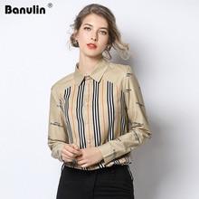 Banulin Runway Striped Letter Print Shirt Fashion Elegance Vintage Camisa Feminina 2019 Women Spring Long Sleeve Chiffon Blouse