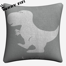 Dinosaur Cartoon Set Soft Cotton Linen Cushion Covers 45x45cm Vintage Pillowcase For Sofa Home Decoration