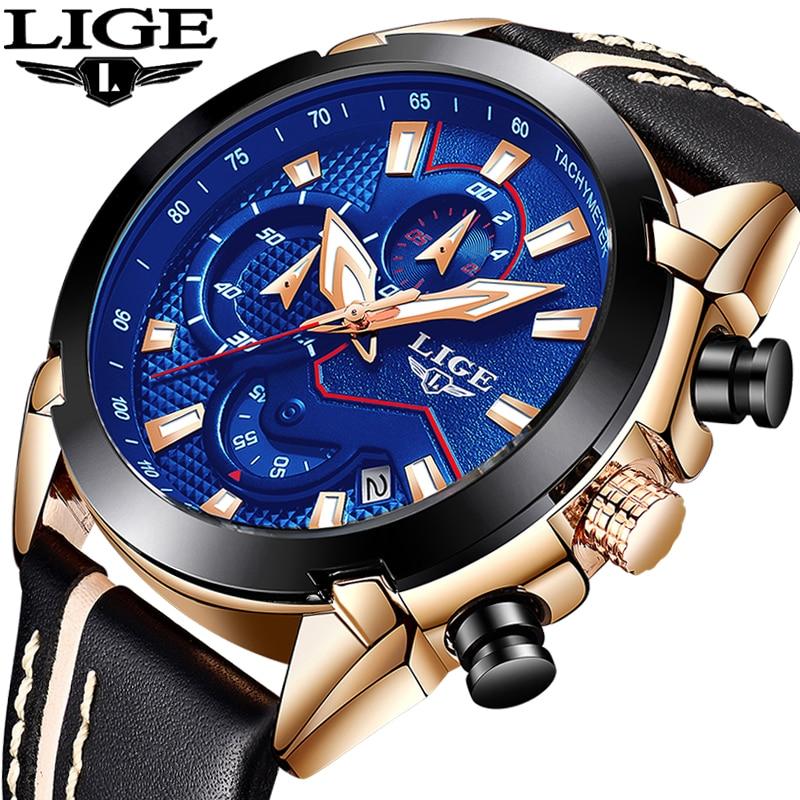 Relogio Masculino 2018 New LIGE Sport Chronograph Mens Watches Top Brand Luxury  Leather Waterproof Date Quartz Watch Man Clock