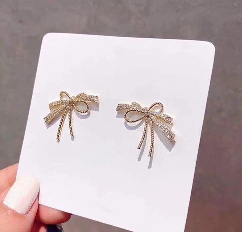 Dominated Jewelry Stud-Earrings Crystal Bowknot Women Metal Elegant Personality Cute