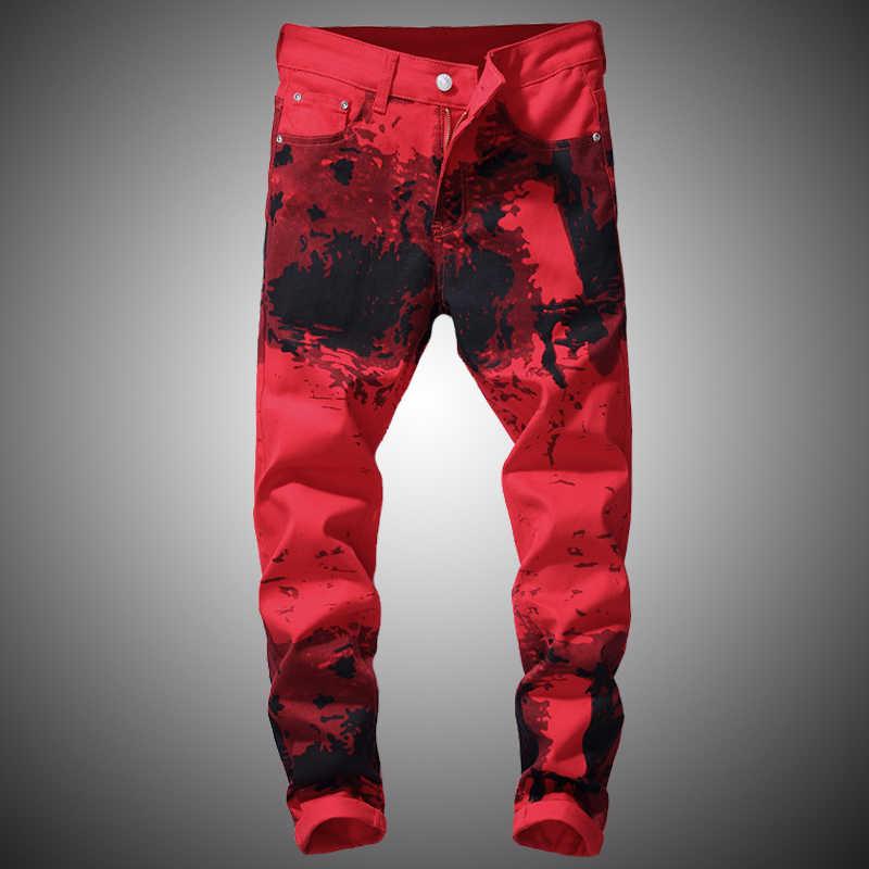 Pantalones Vaqueros Rojos Para Hombre 2019 Pantalones De Mezclilla Estampados De Moda Ajustado Hip Hop Streetwear Pantalones Vaqueros Lapiz Para Hombres Pantalones Vaqueros Aliexpress