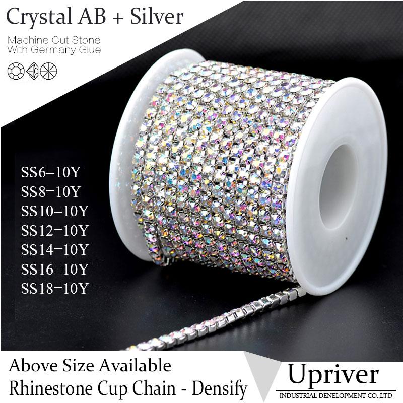 SS16 Crystal AB Silver Base Densify Claw Shiny Glass Rhinestone Cup Chain  10yards roll For Wedding Dress a19beb7c9222