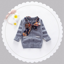 Autumn Winter Baby Girls Long Sleeve Knitwear Sweater Kids Solid Cardigans Princess Infant Outerwear Coat + Floral Scraf