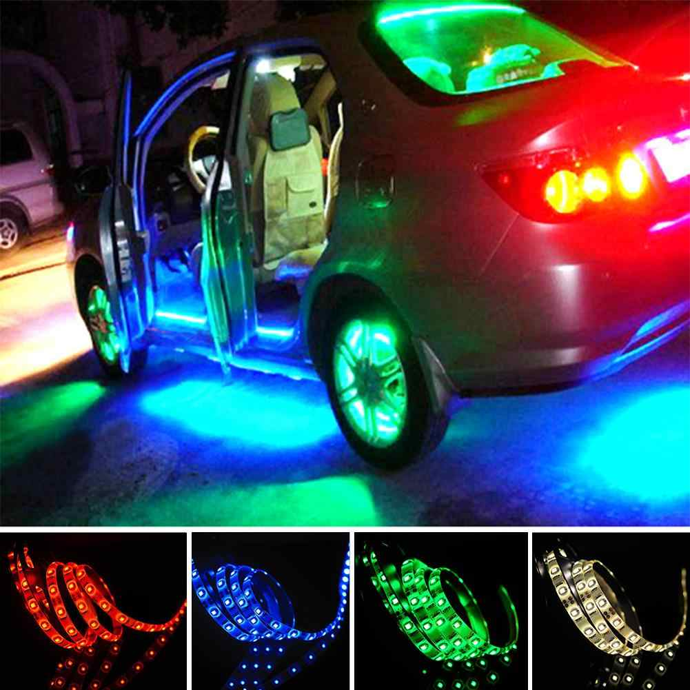 Tsleen Multicolor 50/100/200/500 Cm 3528 5050 SMD LED Flexible Strip Lampu Latar Belakang TV lampu Kit Kabel USB 5V
