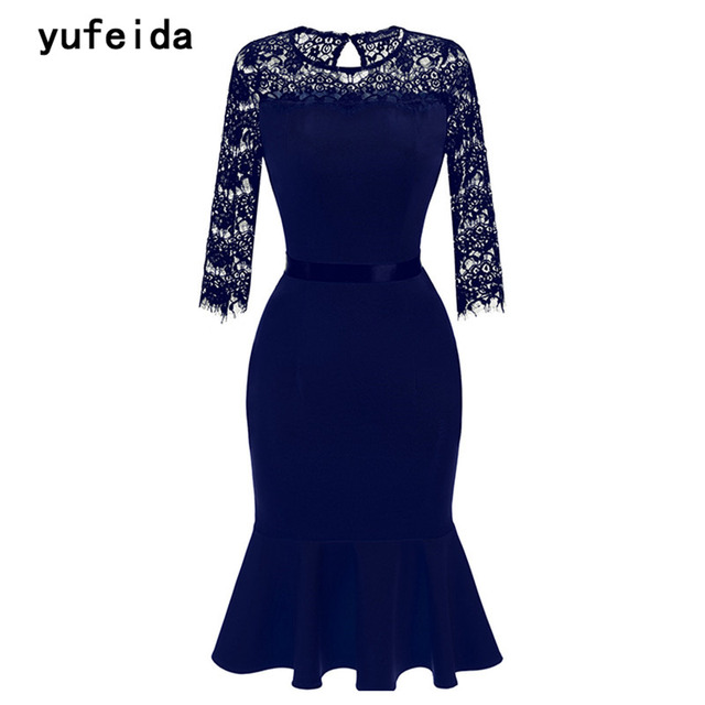 c352b97e8c4 YUFEIDA Women Elegant Fashion Vintage Lace Dress See Through Royal Blue  Wedding Bodycon Party Special Occasion Pencil Dress