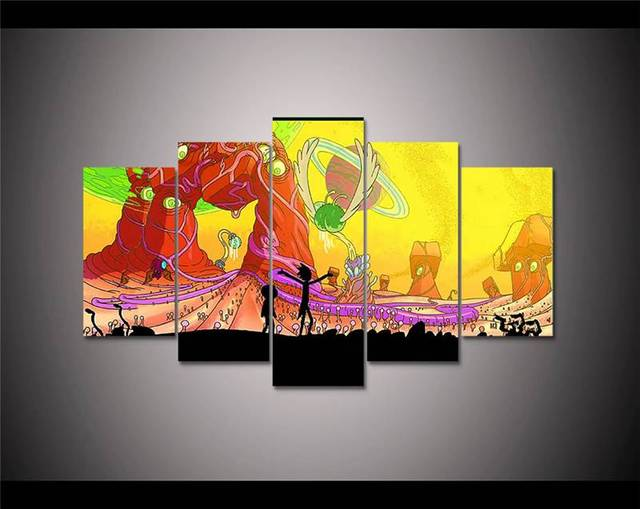 Animation Poster 5 Panel Hd Printed Canvas Painting Rick And Morty ...