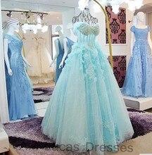 Luxus Eine Linie Abendkleider 2016 Handgemachte Blumen Strass Spitze Formale Abendkleider Für Partei Prom Dresses Prinzessin Stile