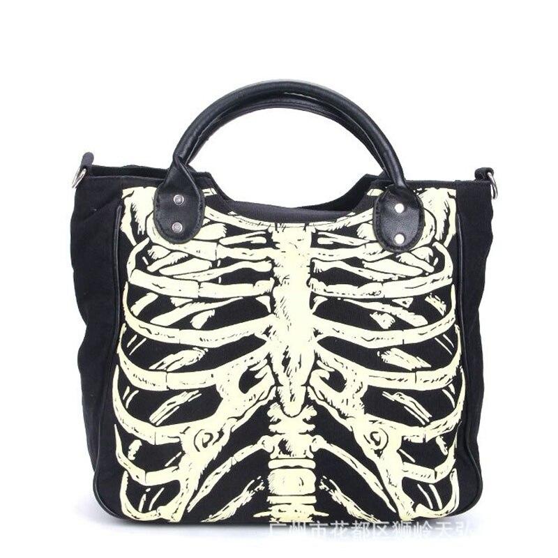Noctilucous Skeleton Bone Skull Gothic Canvas Shoulder Bag Halloween Handbag For Women Horror Costume Scary Luminous Skull Glow