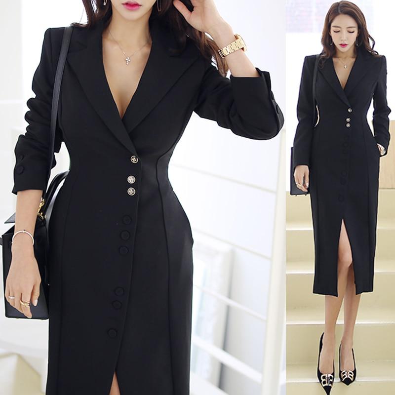Cou Poitrine Partie D234t Automne Noir Femmes Robe Picture Robes Bureau V Color De Élégante Long Blazer Dames Unique Femme Hiver ppnT4Zq7X