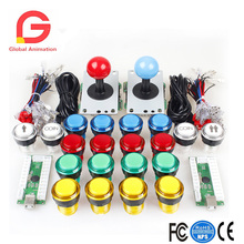 2 Player Arcade DIY Kit USB Encoder To PC Joystick Games+2x5Pin Rocker+16x30mm 5V LED Lit 1&2 Player Coin Push Buttons цена