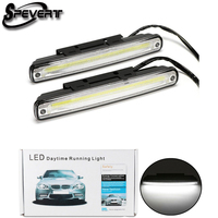 SPEVERT 2pcs White Universal DC 12V 24V COB LED Daytime Running Light Super Car DRL