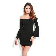 Новый-сексуальное с открытыми плечами хлопок вязаный Для женщин облегающее платье мини тонкий длинными расклешенными рукавами Демисезонный Платья для женщин без бретелек свитер d
