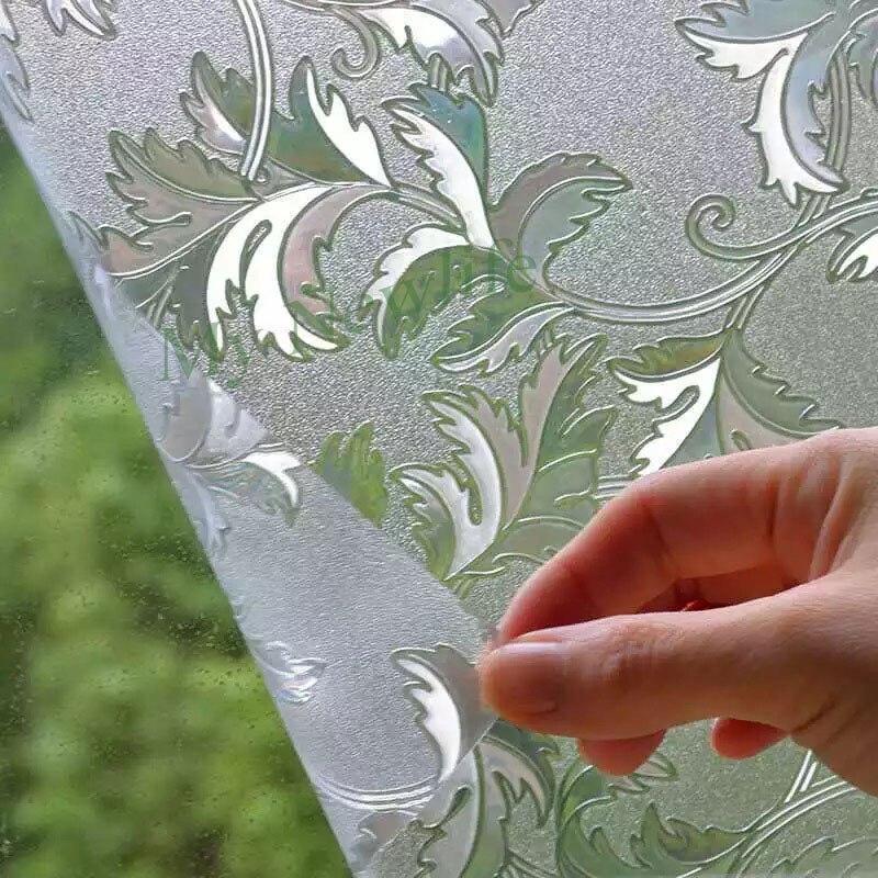Cristal vigne feuilles Diamant de bande dessinée Fenêtre Film De Couverture Home Decor No-Colle 3D Statique Décoratif Fenêtre En Verre Autocollants 60/90*500 cm