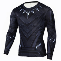 Fashion Men S T Shirts Black Panther Graphic 3D Muscle Fit Tee Shirts Compression Shirts Gym