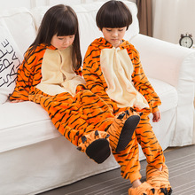 Children Kids Winter Animal Tiger onesies Pyjamas Cartoon Animal Cosplay Tiger Pajamas Kids Onesie Sleepwear Halloween Zipper