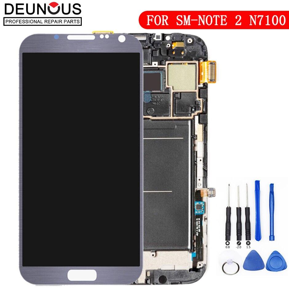 Écran pour Samsung Galaxy Note 2 N7100 LCD tactile numériseur capteur verre assemblage avec cadre pour Galaxy Note 2 affichage N7105