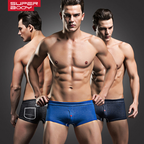 Free shipping male panties faux denim casual fashion low-waist trunk opening pocket tight 2pieces