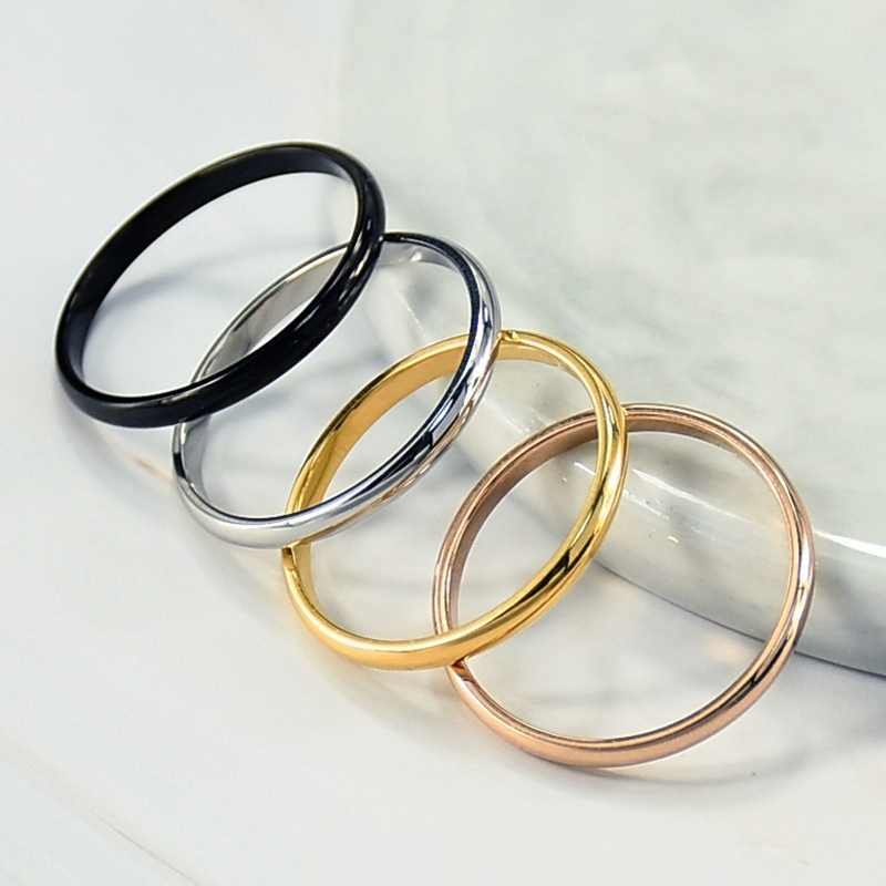 Sederhana 2 Mm Thin Titanium Steel 4 Warna Cincin Pasangan Sederhana Fashion Mawar Emas Perak Cincin untuk Wanita Pernikahan pesta Perhiasan