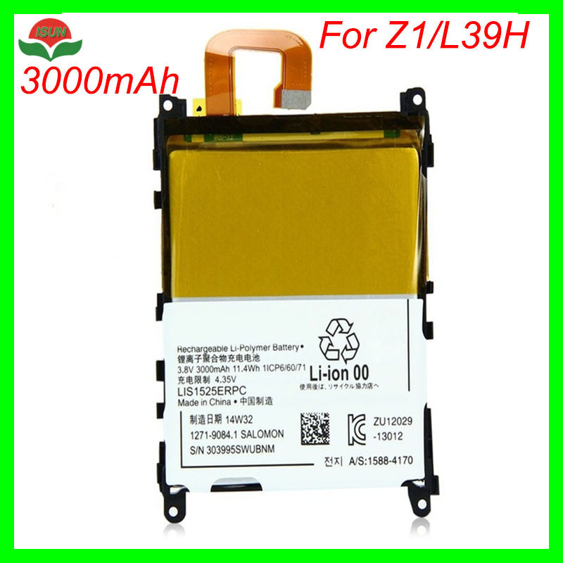 ISUN 10pcs/lot LIS1525ERPCS Replacement Battery For Sony Xperia Z1 L39H C6902 C6903 Mobile Phone Battery 3000mAh
