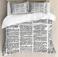 Old Newspaper Decor King Size Duvet Cover Set by Ambesonne Close Up Aged Journal Page with Headings News Articles Columns