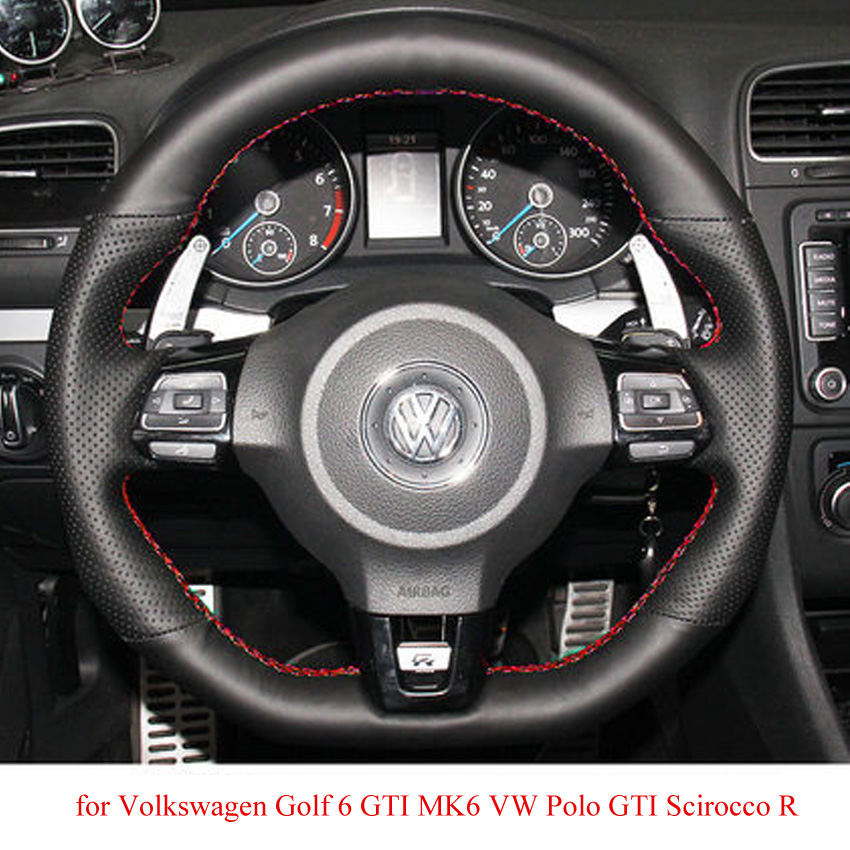 2010 Volkswagen Golf Interior: Black Leather Car Steering Wheel Cover For Volkswagen Golf