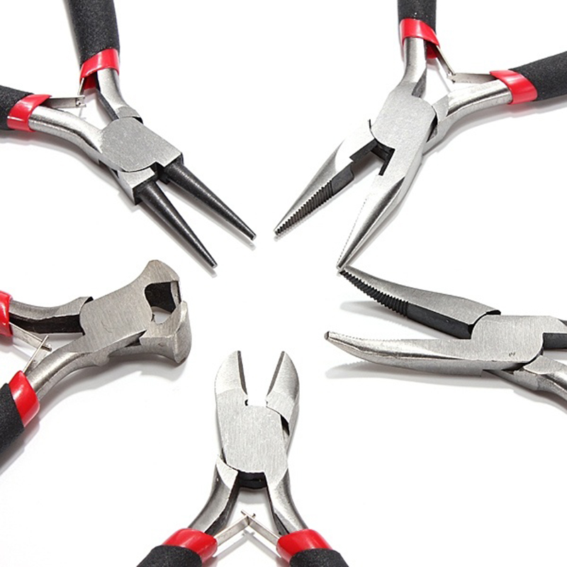 5Pcs Jewellery Mini Pliers Tools Kit Cutter Chain Round Bent Nose Beading Making