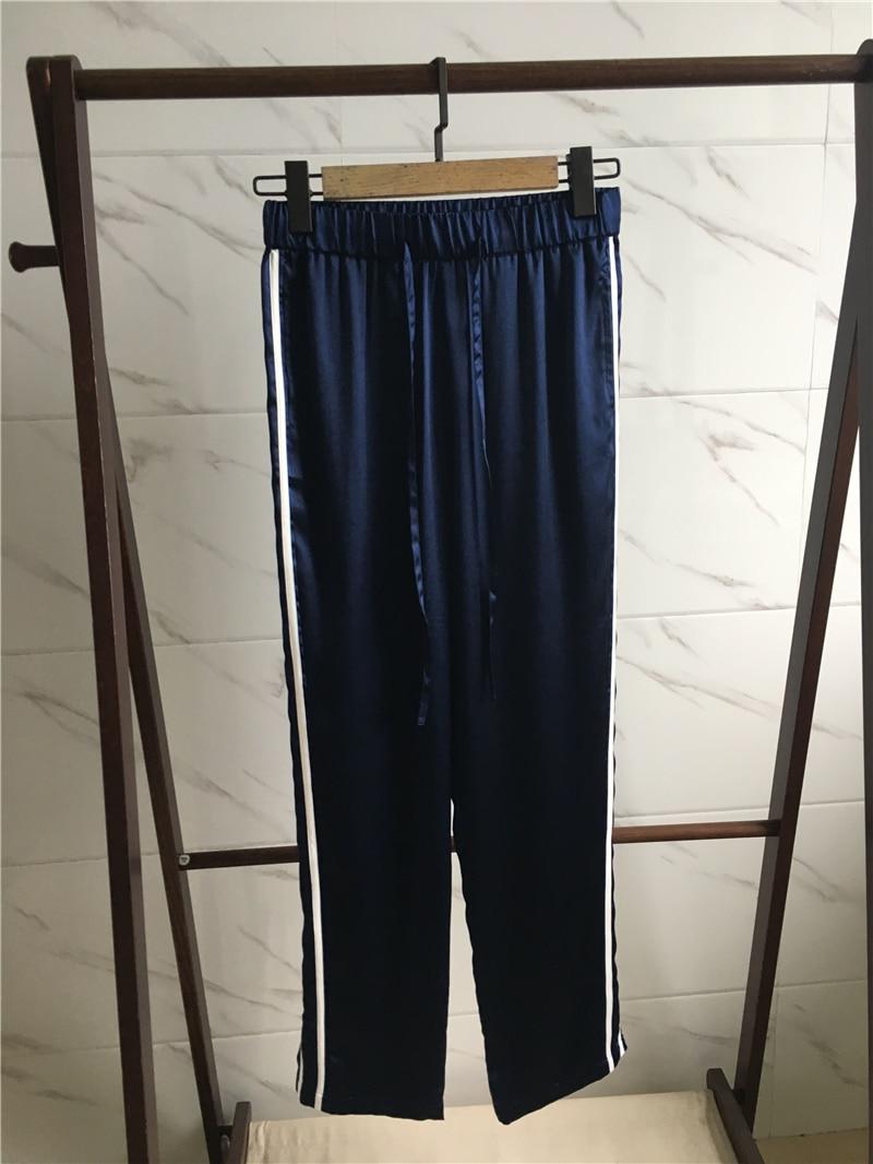 Vacances Travail Large Marine De Vêtements Casual Jambe Été Lâche Soie Ol Automne Mode Pantalon Femmes Bleu Naturelle wWOpqUv6